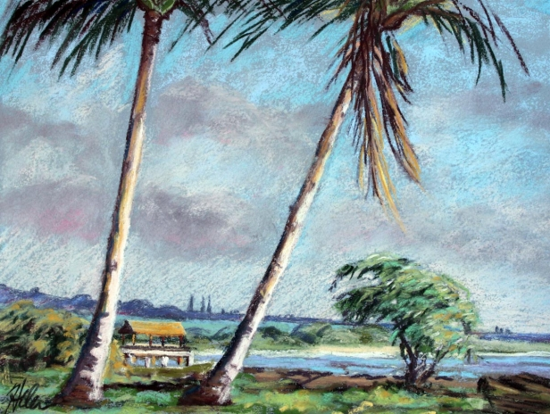 Waimea Pier through the Palms, pastel artwork by Kauai artist Helen Turner