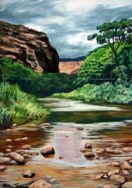Waimea Swinging Bridge, pastel artwork by Kauai artist Helen Turner