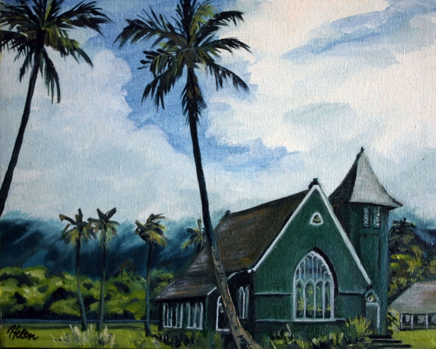 Waioli Church, pastel artwork by Kauai artist Helen Turner