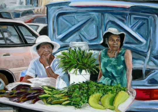Waiting for a Sale at the Farmer's Market, pastel artwork by Kauai artist Helen Turner