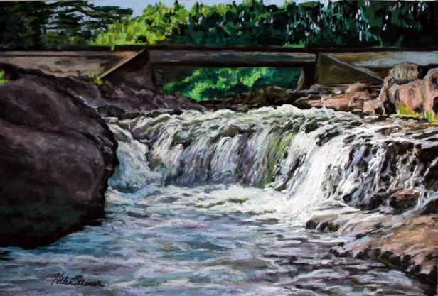 Water Under the Bridge, pastel artwork by Kauai artist Helen Turner