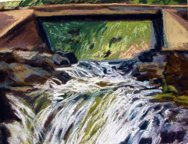 Water under a bridge, pastel artwork by Kauai artist Helen Turner