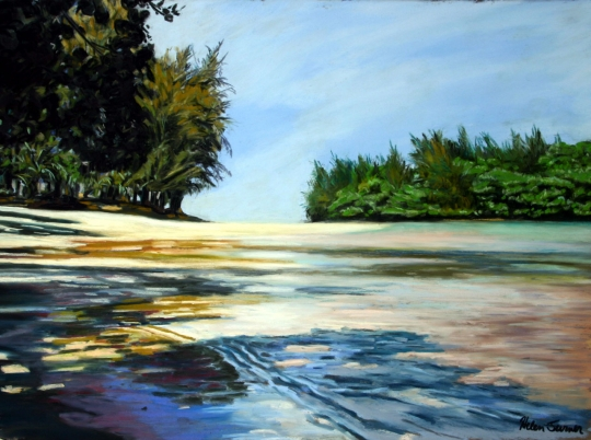 Where the River Meets the Sea, pastel artwork by Kauai artist Helen Turner